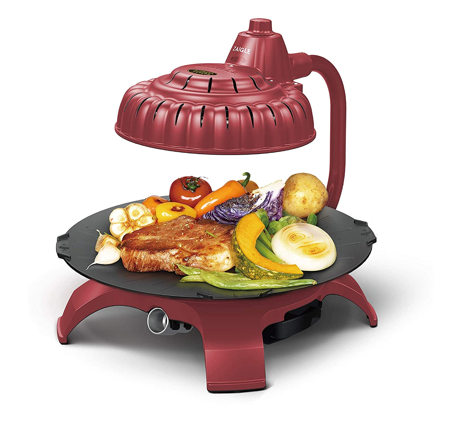 Zaigle ZG-HU375 Handsome Infrared KBBQ Electric Grill, 120v, 3 pans, tongs included (Red)