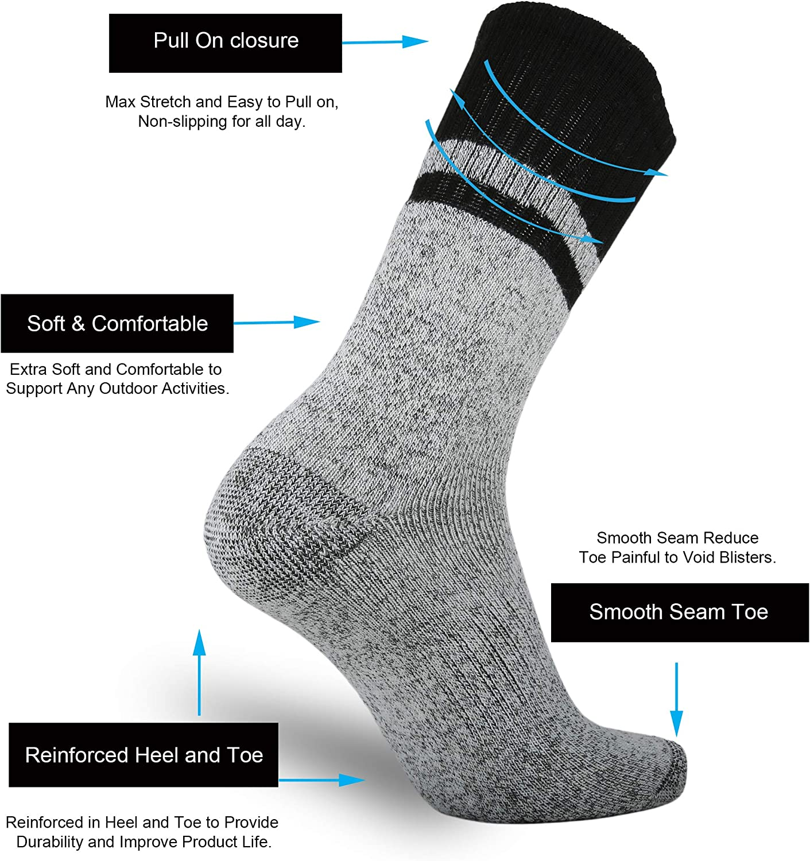 Ortis Merino Wool Moisture Wicking Outdoor Hiking Cushion Low Cut Socks for Men 4 Pack