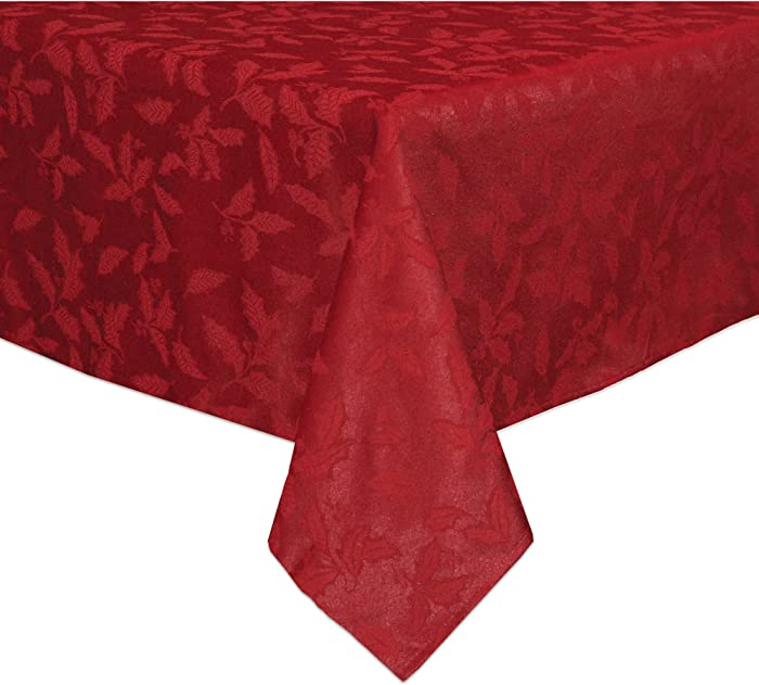 Lenox Holly Damask Tablecloth, 60 by 84-Inch Oblong/Rectangle, Red