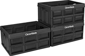 CleverMade 32L Collapsible Storage Bins - Durable Folding Plastic Stackable Utility Crates, Solid Wall CleverCrates, 3 Pack, Black