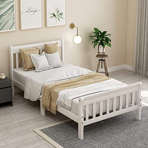 Hinpia Wood Twin Platform Bed Frame Panel Bed Mattress Foundation Sleigh Bed