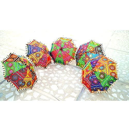 SUVASANA Rajasthani Handicraft Jaipur Embroidery Work Decorative|| Wedding Umbrella for Event|| Home Decor Party||Umbrellas Bohemian Hippie Decor