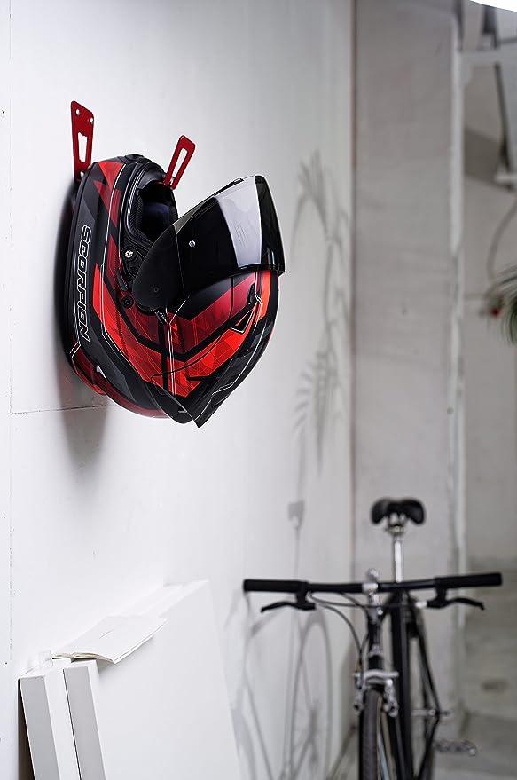 BESTUNT Soporte para Casco de Motocicleta - Bastidor de Almacenamiento para Colgar estantes | Montaje en Pared Accesorios (Blanco)