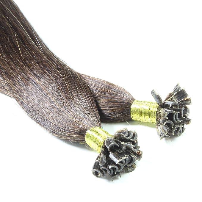 Hair2Heart 50 x 0,5g Extensiones de Queratina - 30cm - Liso, Color 2 Marrón Oscuro: Amazon.es: Belleza