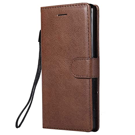 DENDICO Funda Sony Xperia Z3, Flip Libro Cuero Carcasa, Diseño Clásico Funda Plegable Cover para Sony Xperia Z3 - Marrón