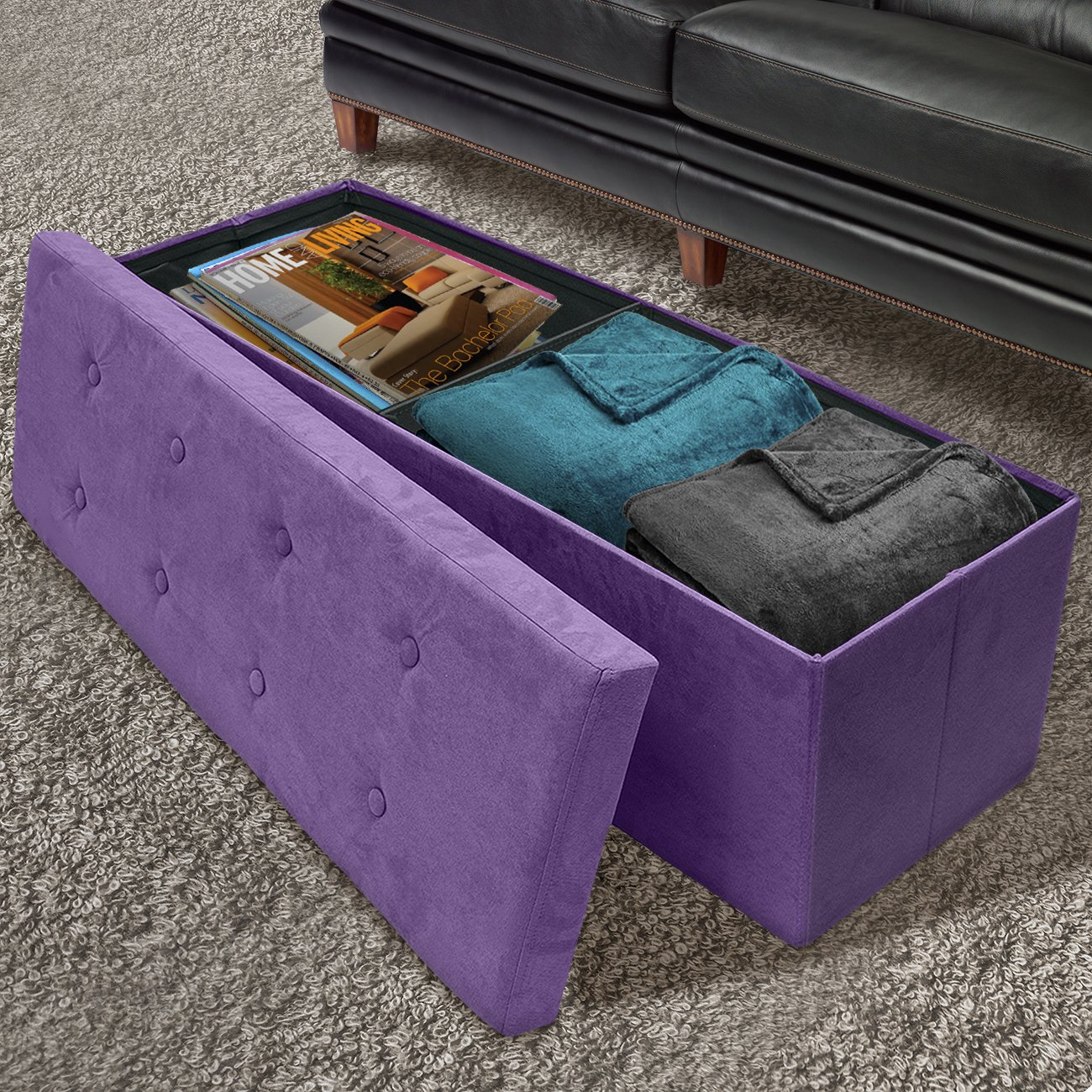 Sorbus Storage Ottoman Bench Collapsible Folding Bench Chest with Cover Perfect Toy and Shoe Chest, Hope Chest, Pouffe Ottoman, Seat, Foot Rest, Contemporary Faux Suede Large-Bench, Purple