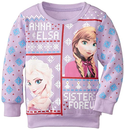 Amazon Frozen Little Girls Toddler Sisters Forever Christmas Sweater Lilac 2T Clothing