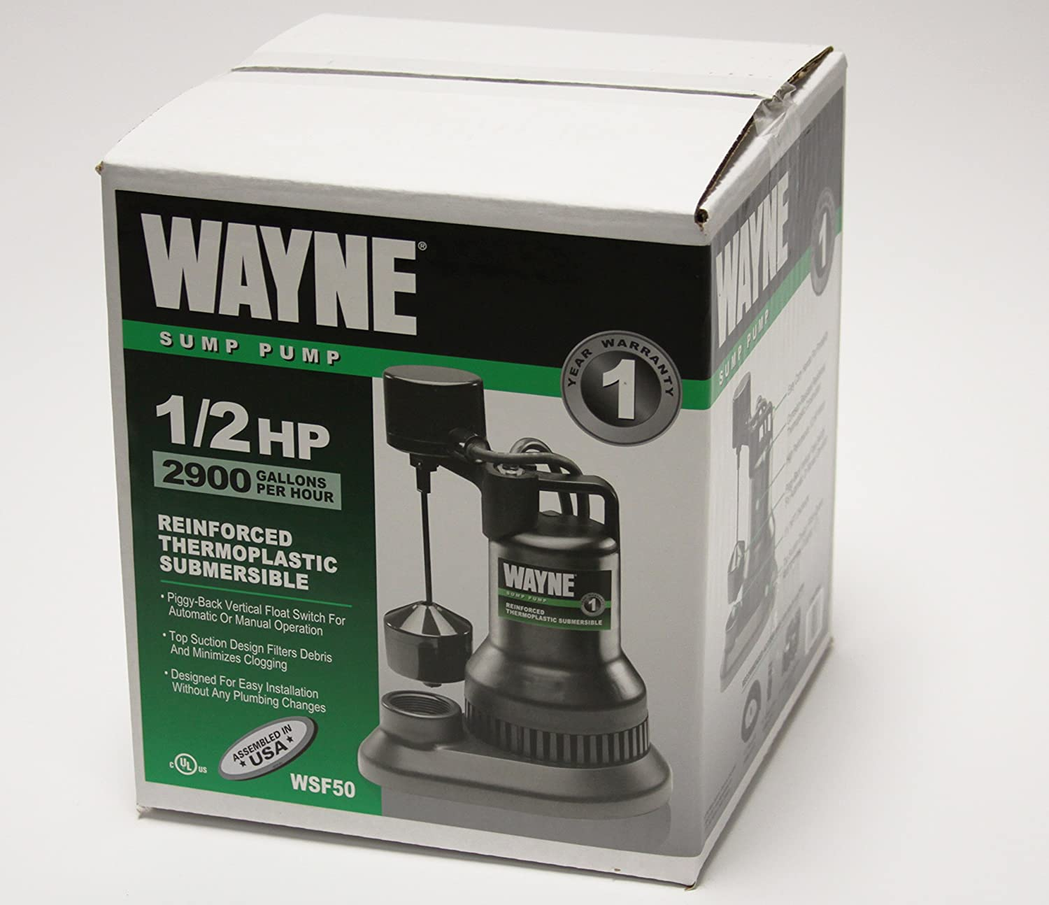 WAYNE WSF50 1//2 HP Thermoplastic Sump Pump With Vertical Float Switch