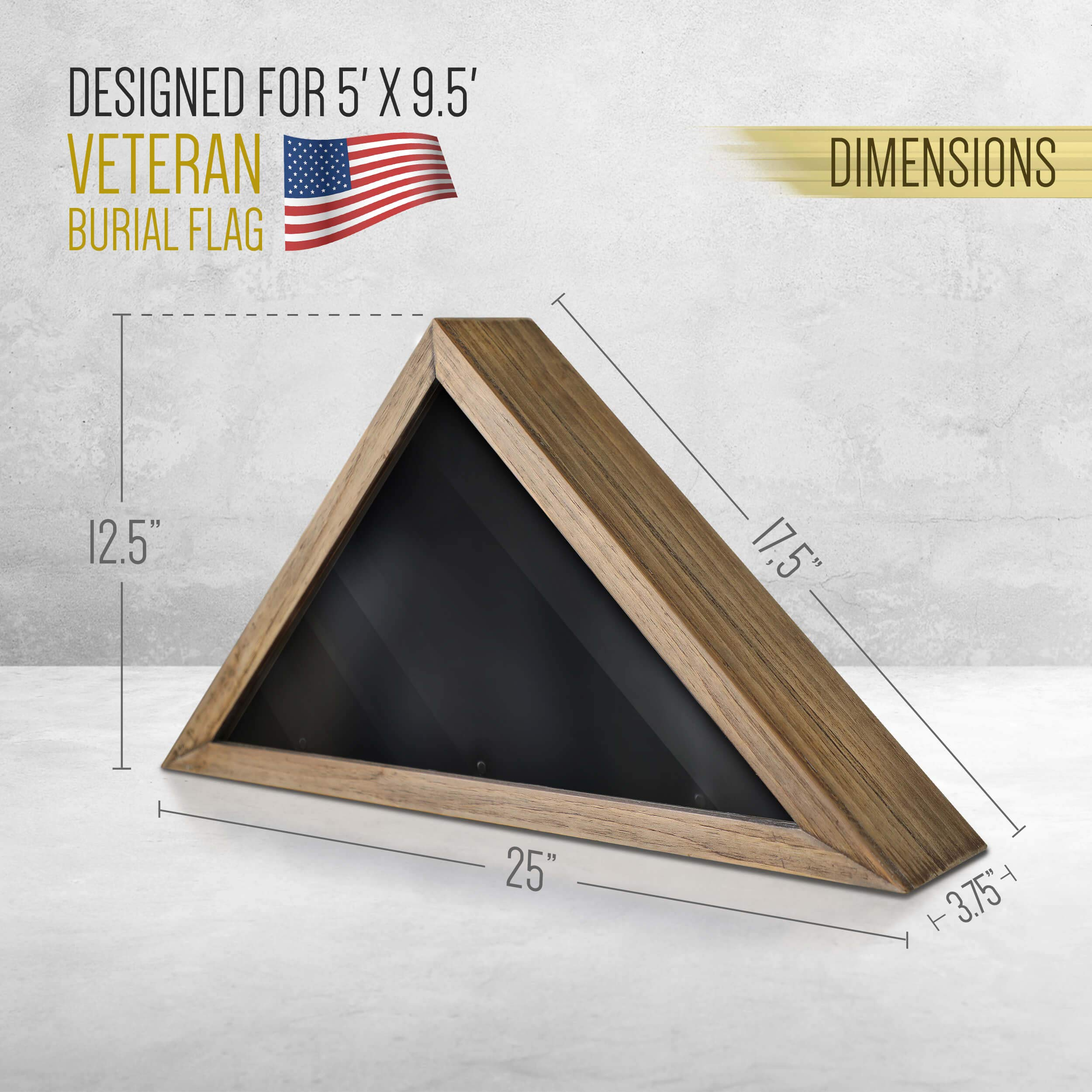 Rustic Flag Case - SOLID WOOD Military Flag Display Case for 9.5 x 5 American Veteran Burial Flag, Wall Mounted Burial Flag Frame, - Flag Shadow Box to display folded flag. (Weathered Wood) by HBCY Creations (Image #5)