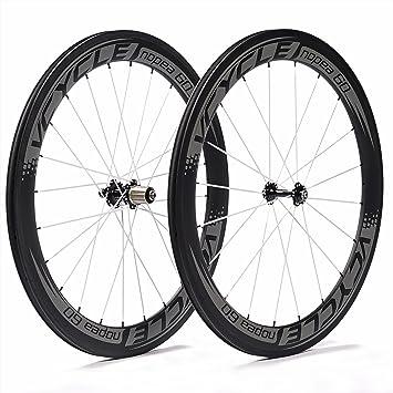 VCYCLE Nopea 700C 60mm Rueda Carbono Bicicleta de Bicicletas Ruedas Copertoncino para Shimano o Sram 8/9/10/11 Velocidad: Amazon.es: Deportes y aire libre