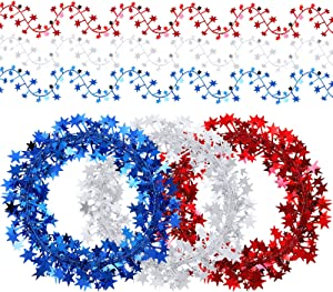 3 Pieces Independence Day Patriotic Star Wire Garland Red White Blue Star Tinsel Garland Metallic Patriotic Star Decorations for 4th of July Patriotic Day Party Decor
