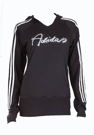 adidas Sudadera Suéter Capucha Superior de Jersey Sudadera con Capucha 3S Chica Joven algodón, niña, Negro/Plata: Amazon.es: Deportes y aire libre