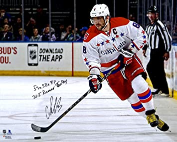 33ec879fb Alex Ovechkin Washington Capitals Autographed 16 quot  x 20 quot  White  Jersey Skating Photograph with Multiple