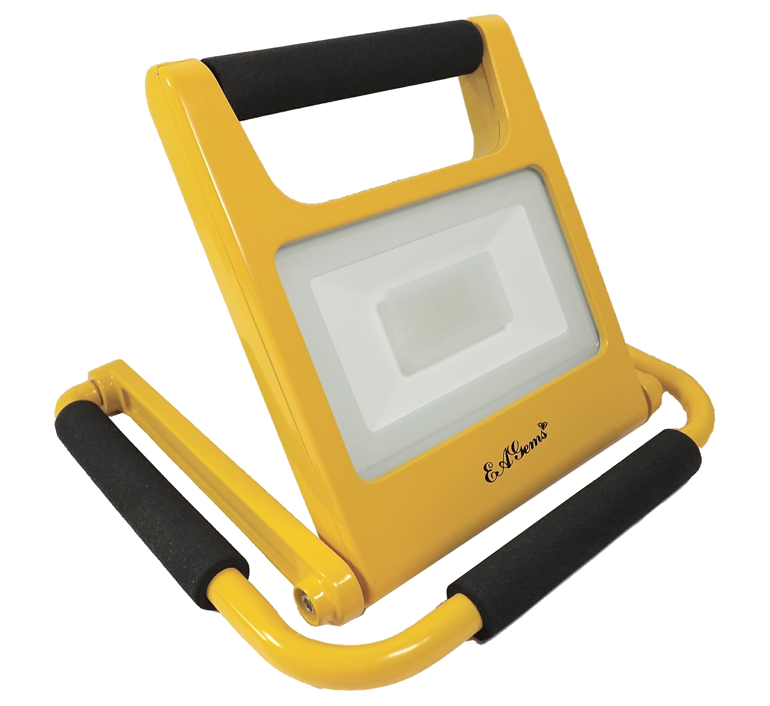EAGems Portable LED Work Light - Rechargeable, Bright 20 Watt Lamp, Great for Home-Office-Car-Outside/in, Use in Emergency, As Spotlight, Carry Like a Flashlight - Adjustable 360 Degrees, Yellow