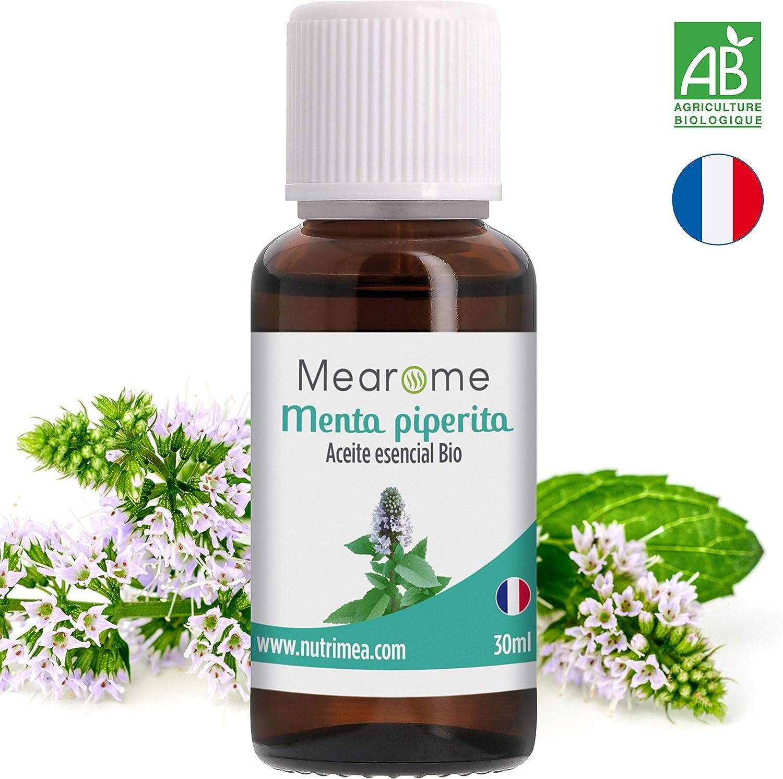 Aceite Esencial De Menta Piperita Puro 30 ml, 100% Natural y Bio | Alivia Dolores de Cabeza Digestión Nauseas Mal Aliento | Ideal para Humidificador Ultrasónico Aromaterapia | Fabricado en Francia
