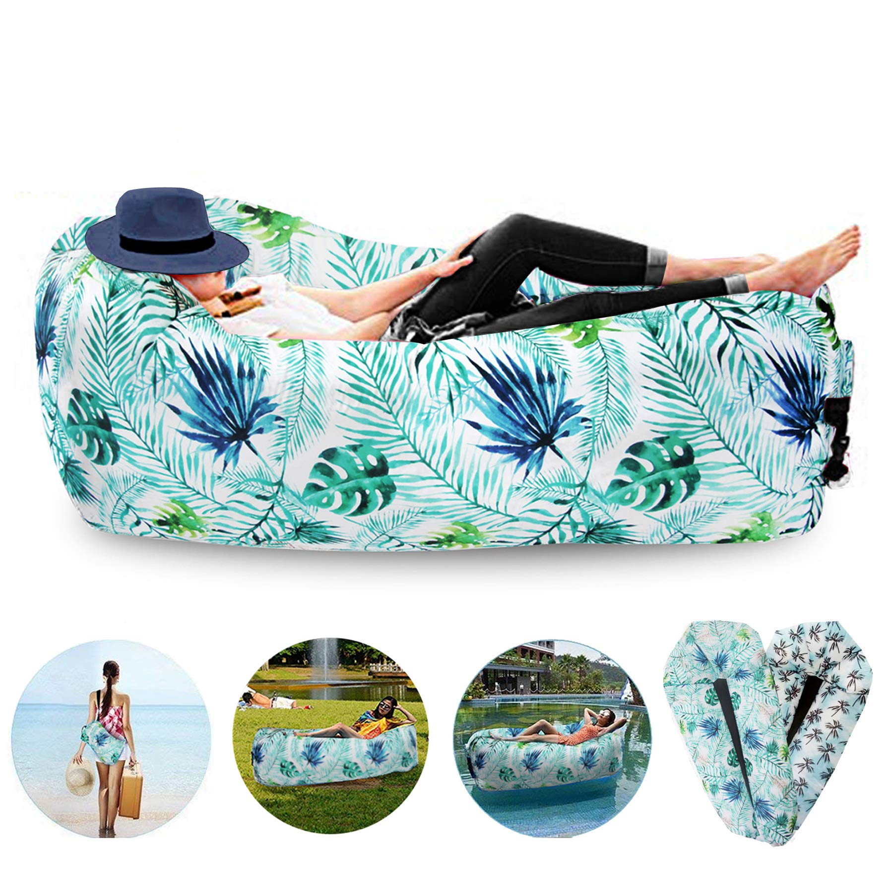 FORNY Inflatable Air Sofa Lounger Hammock Floating Couch Water Proof Pool Toy 2.0 for Beach Camping Picnics by FORNY