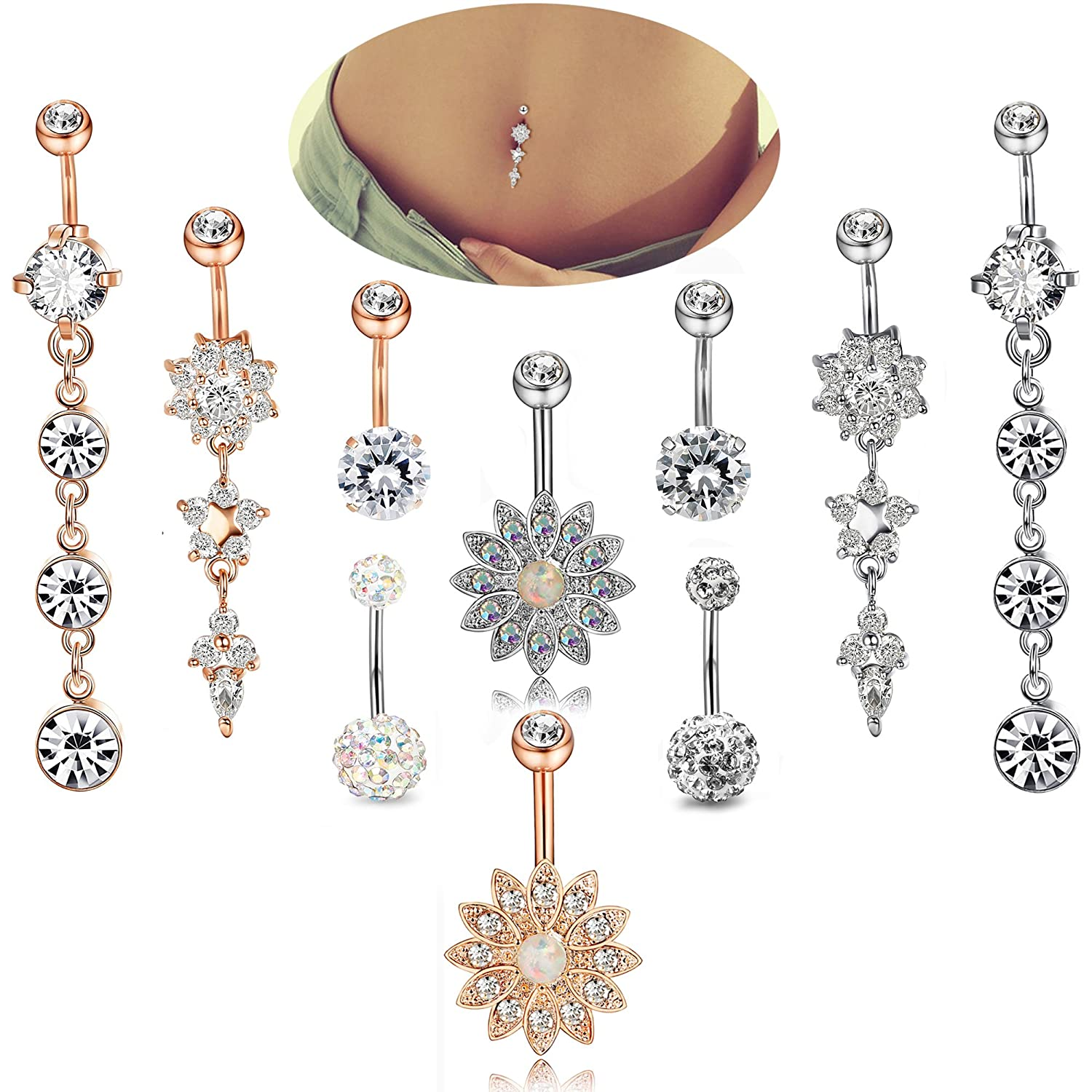 Home Motivated Fashion Women Water Drop Navel Nail Bar Piercing Belly Rings Body Jewelry