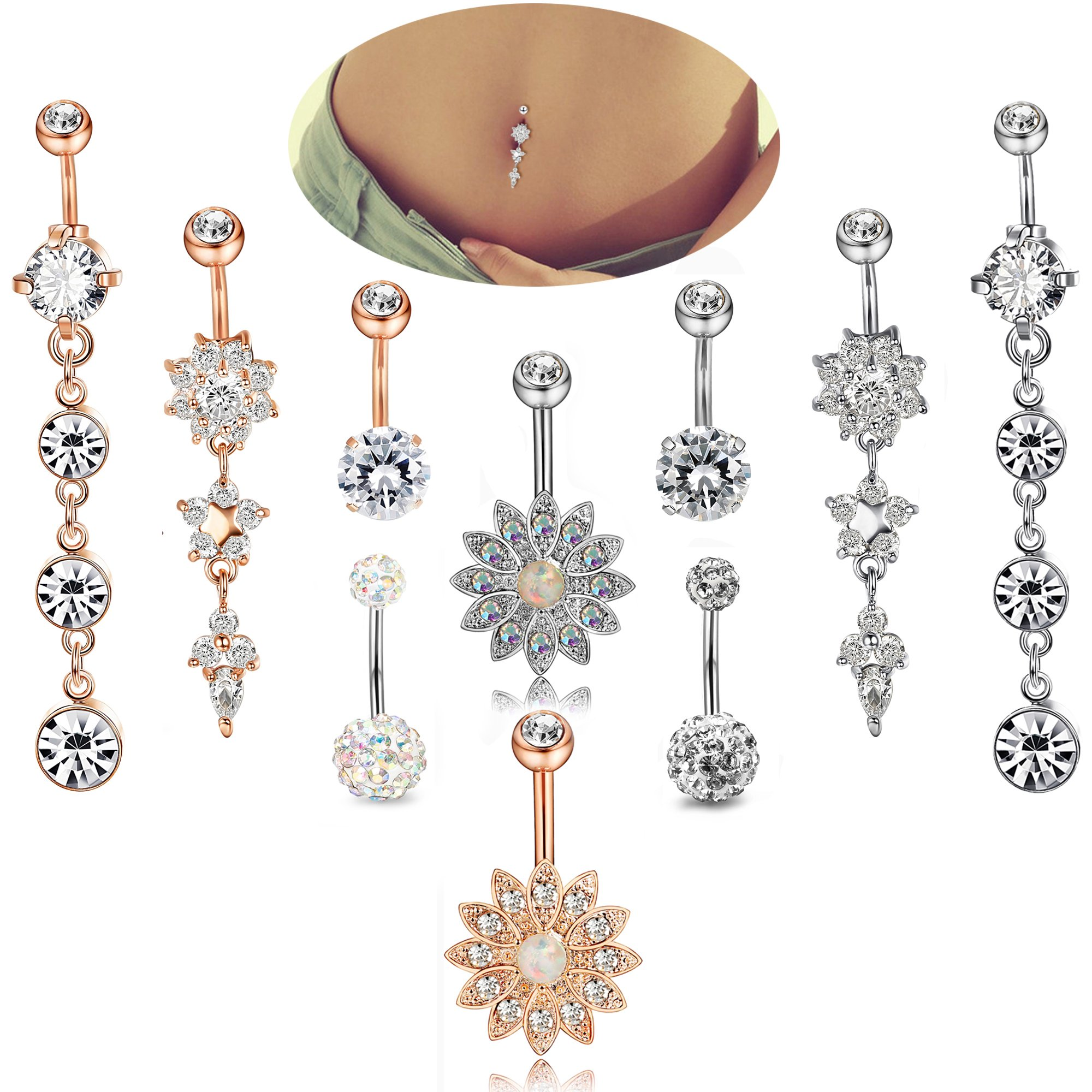 Jstyle 10 Pcs 14G Stainless Steel Belly Button Rings Women Girls Navel Rings CZ Dangle Curved Barbell Body Piercing Jewelry