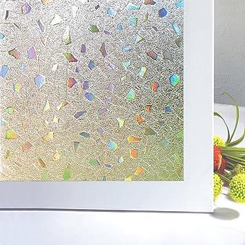 Zindoo Sichtschutzfolie Fenster Fensterfolie Glas Filme Tür Filme  Sichtschutz Folie Nicht Klebend Fenster Deko 3D Unregelmäßige