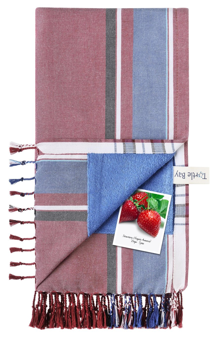 Turtle Bay - Toalla de playa / Pareo - Toalla de baño - Kikoy Towel Ukunda - Color : Strawberry - Tamaño : 95 x 170 cms: Amazon.es: Hogar