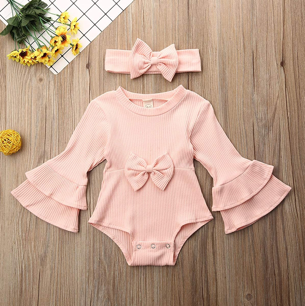 US Newborn Baby Girl Boy 2Pc Linen Clothes Set Knitted Ribbed Romper Ruffle Jumpsuit Overalls Outfits Solid Color