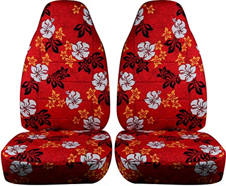 Hawaiian Car Seat Covers >> Hawaiian Print Car Seat Covers Red W Flowers Universal Fit Front Buckets Option For Airbag Seat Belt Armrest Seat Release Lever