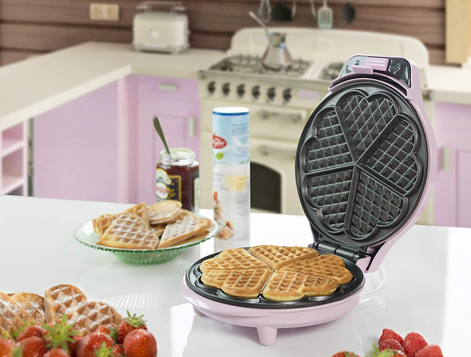 Bestron ASW217 6waffle 700W Rosa piastra per waffle