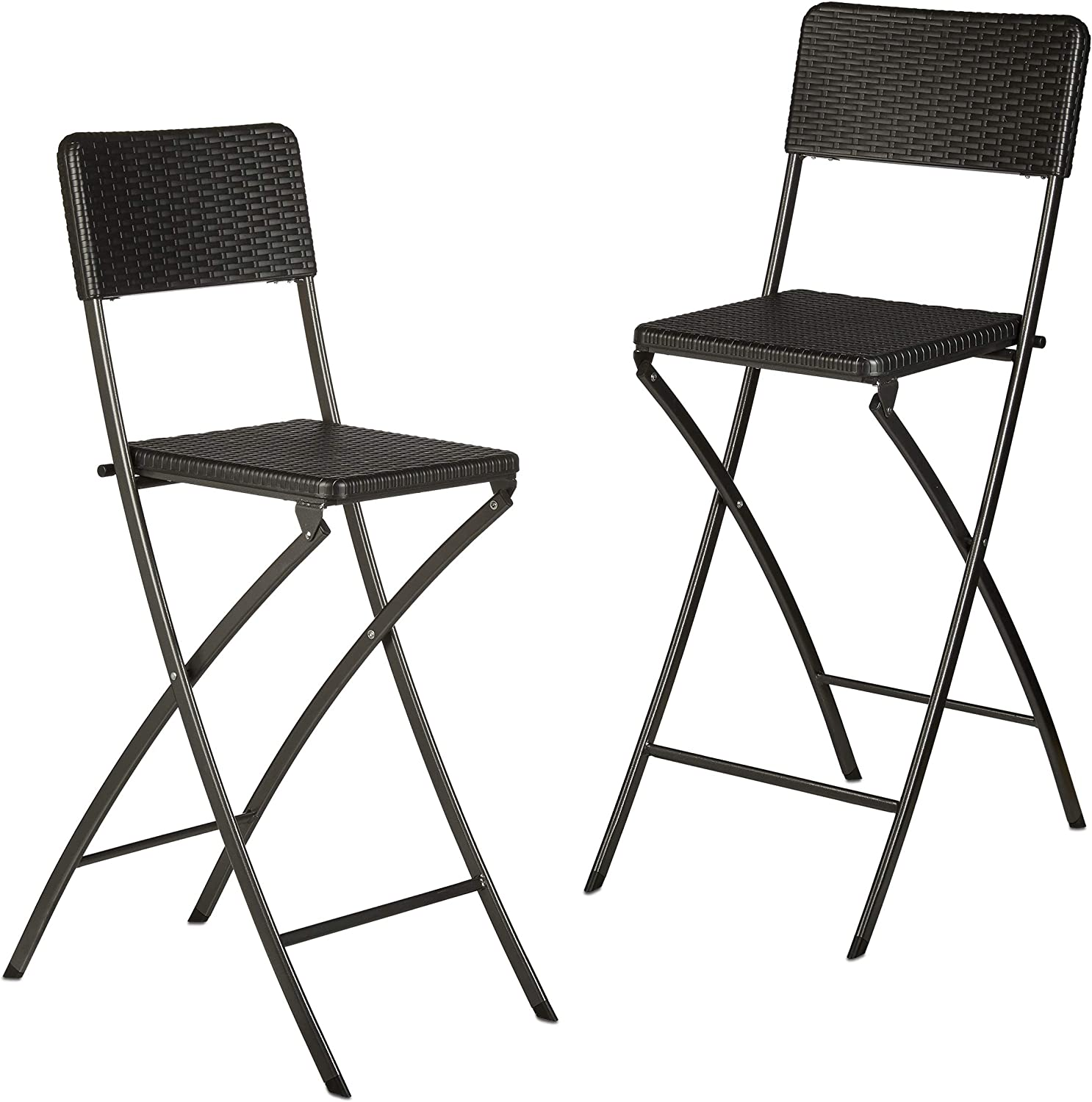 Counter-Height 78 cm Tall Bistro Chairs Foldable Relaxdays BASTIAN Folding Bar Stools Black Backrest Rattan Look