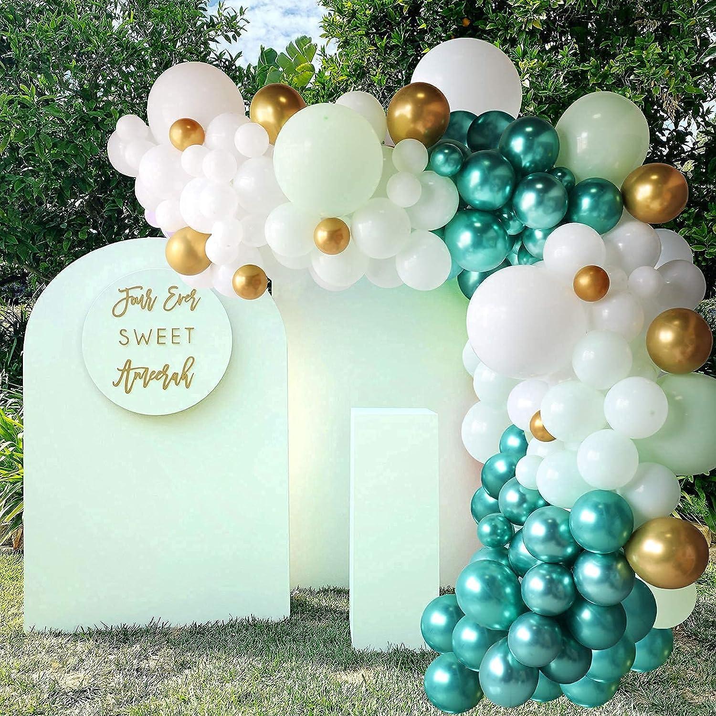 Apple Green Balloon Garland Kit ,108pcs Metallic Chrome Gold Green White Balloon Garland Arch Kit for Wedding Birthday Party Baby Shower Decorations