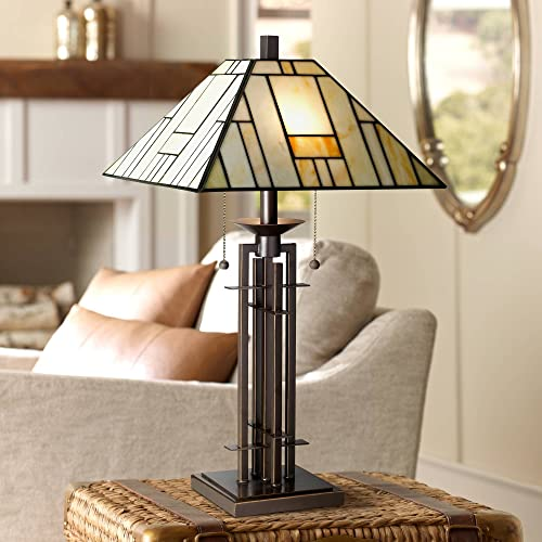 Tiffany Style Table Lamp Art Deco Wrought Iron Bronze Stained Glass for Living Room Family Bedroom Bedside – Franklin Iron Works