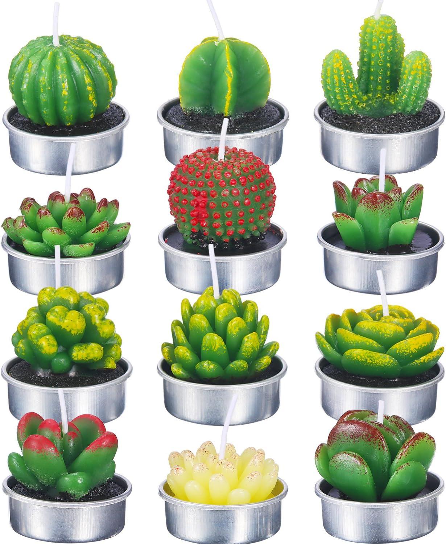 12 Piezas de Velas de Cactus Suculento Velas de Luz de Té de Cactus Hechas a Mano para SPA Decoracion de Hogar Fiesta Boda Regalos (Estilo B)