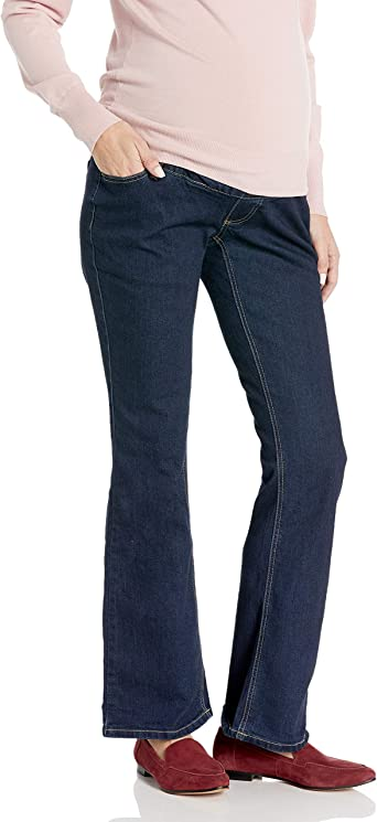 Three Seasons Maternity Womens Maternity Denim Flare Jean with Natural Bellie Band