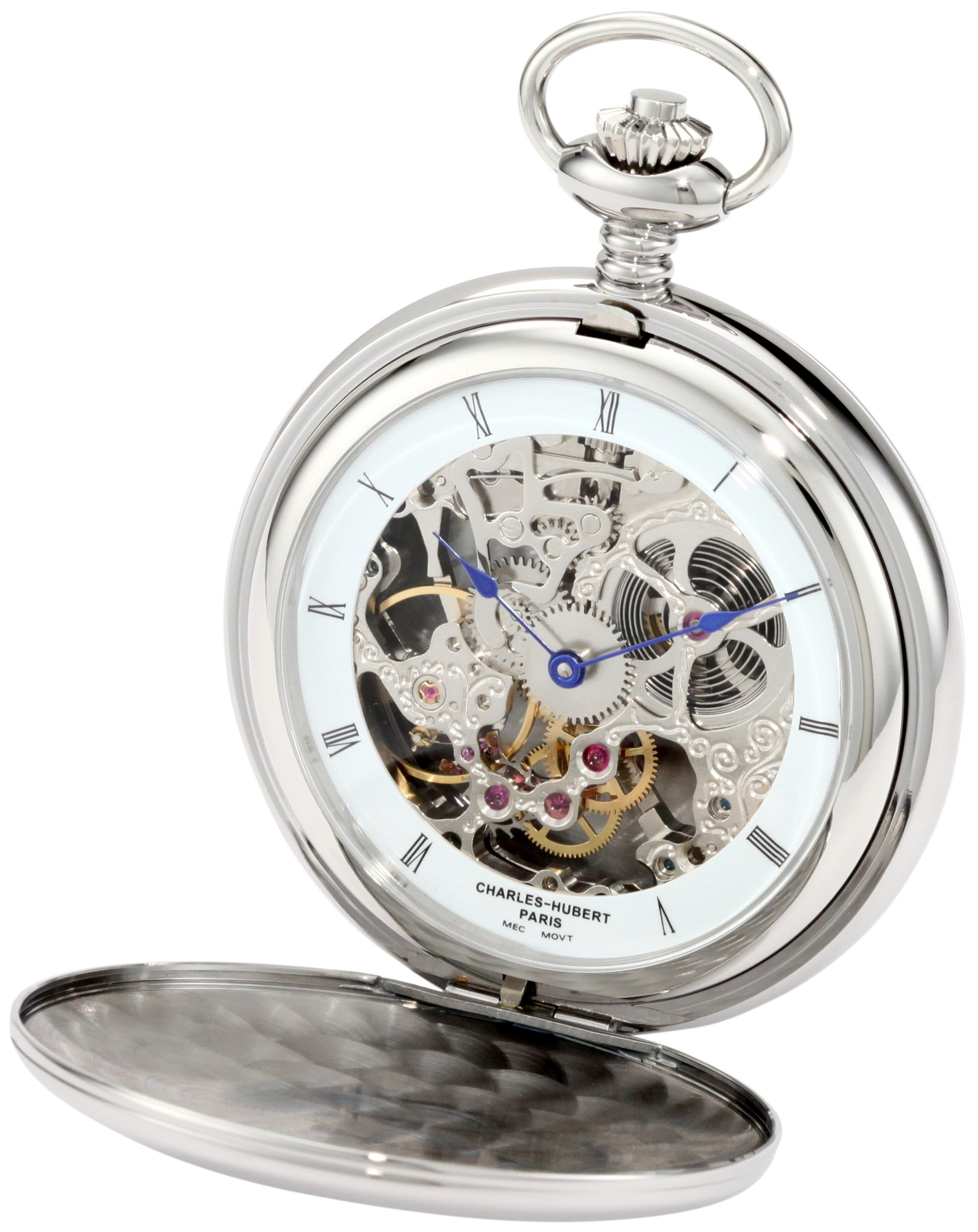 Charles-Hubert, Paris 3904-W Premium Collection Stainless Steel Polished Finish Double Hunter Case Mechanical Pocket Watch by Charles-Hubert, Paris