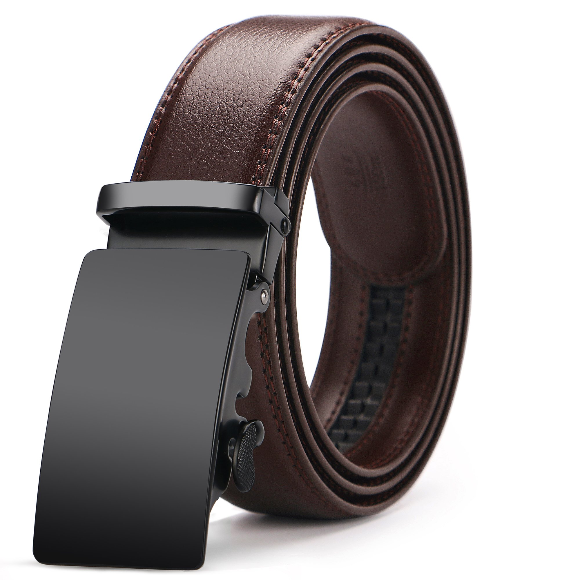 Gifny Men's Automatic Buckle Ratchet Leather Dress Belt 35mm Wider 1 3/8'' for from 22'' to 44'' Waist with Gift Box - Brown