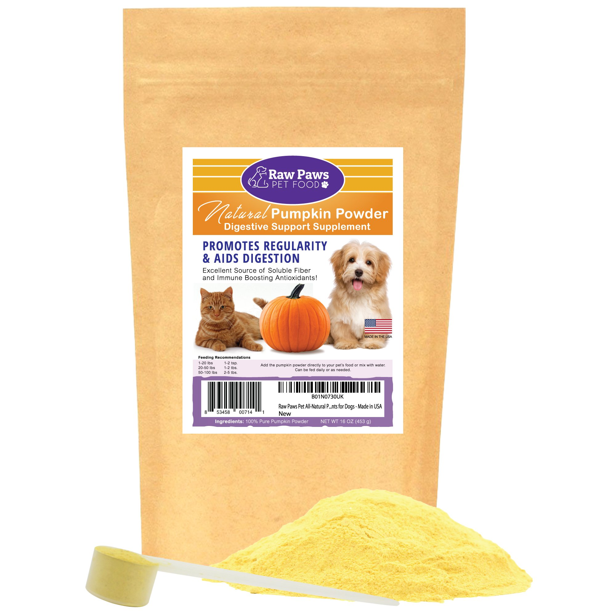 Raw Paws Pet Organic Pure Pumpkin for Dogs & Cats, Powder 16-oz - Fiber for Dogs - Cat & Dog Digestive Supplement for Healthy Stool, Regularity, Dog Gas Relief & Anti Scoot - Cat & Dog Diarrhea Relief