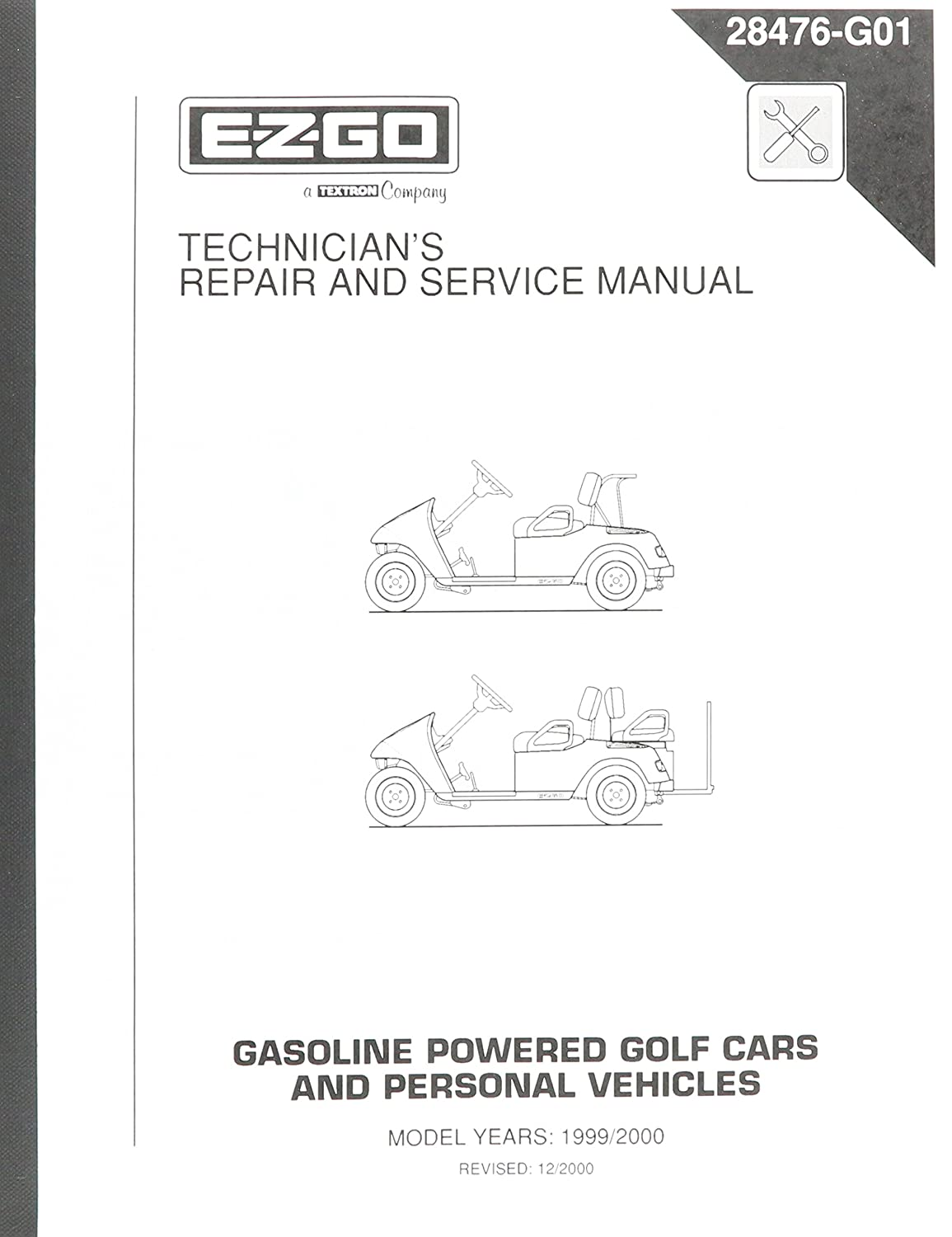 Amazon.com : EZGO 28476G01 1999-2000 Technician's Repair and Service Manual  for Gas TXT Golf Cars/Personal Vehicles : Outdoor Decorative Fences :  Garden & ...