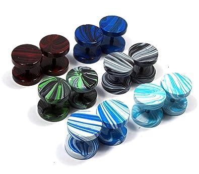 LilMents - Juego de 6 pares de pendientes circulares estilo dilataciones, acero inoxidable, 10 mm, diseño de trazos de pintura: Amazon.es: Joyería