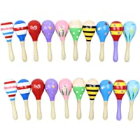 """20 Pack 5"""" Wooden Mini Maracas, Assorted Designs, Perfect maracas for kids, Great party favor"""