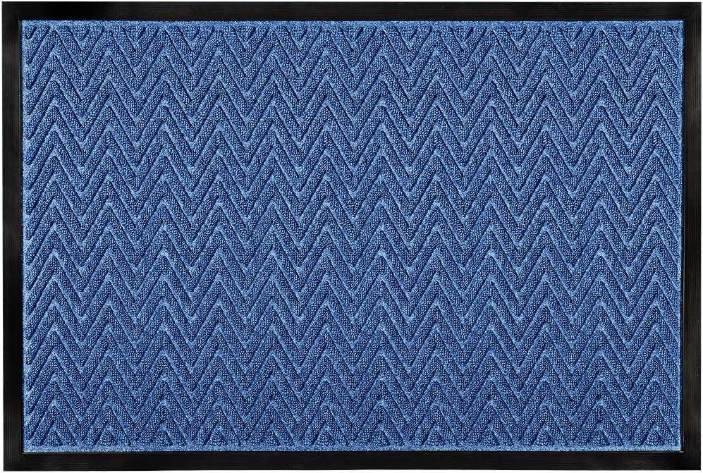 "Mibao Rubber Door Mat Outside Doormat Heavy Duty Entrance Rug Indoor Outdoor, Waterproof, Easy Clean, Low-Profile Rug Mats for Entry, Patio, 24""×36"", Blue"