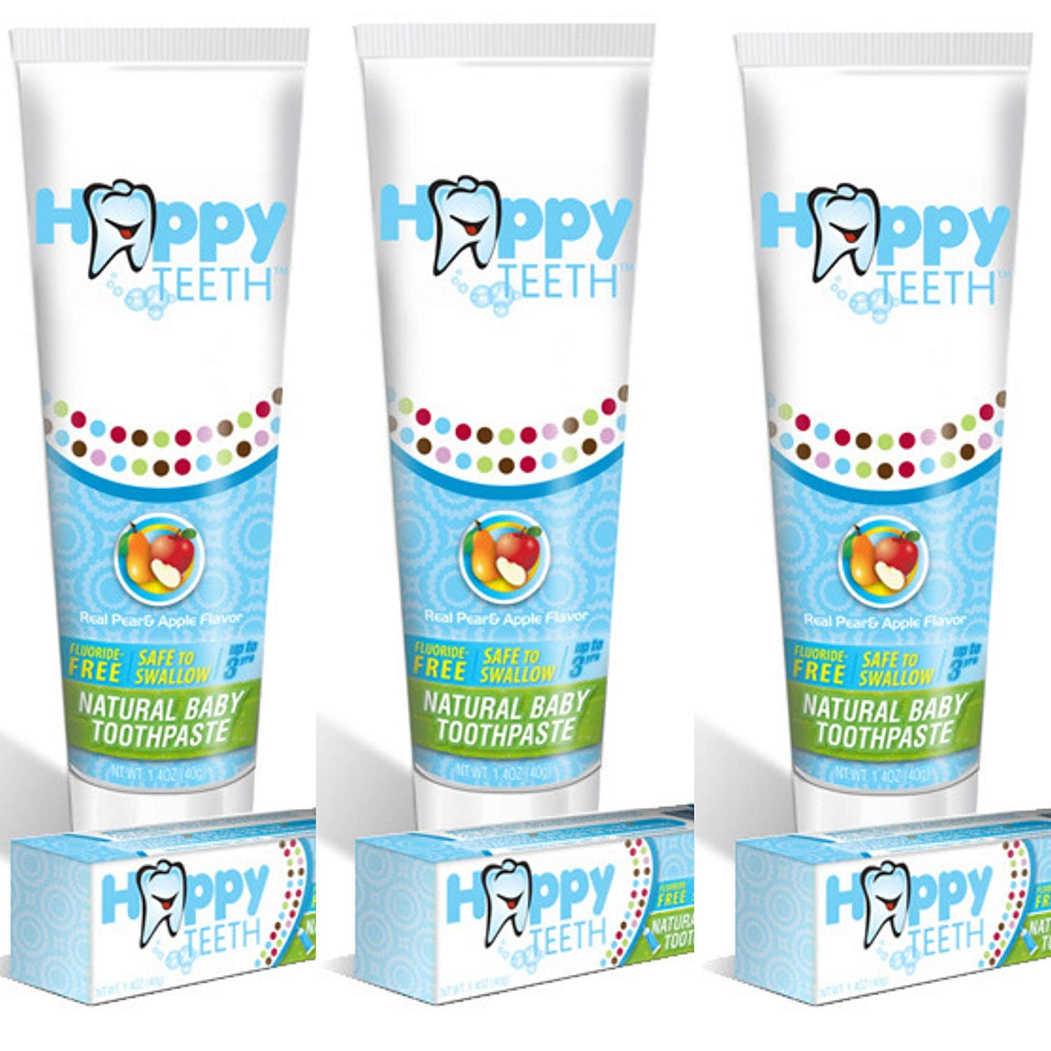 Happy Teeth Baby Toothpaste, Fluoride Free and SLS Free, Natural Pear Apple Flavor, No Preservatives, Safe to Swallow, Best Baby Toothpaste for Kids 3 and Younger