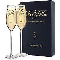 Mr. & Mrs. Wedding Champagne Flutes, Gold Print Elegant Design Bride & Groom Champagne Glasses for Toasting, Comes w…
