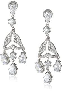 Amazon.com: Nina Two Part Crystal Cluster Hanging Drop Earrings ...
