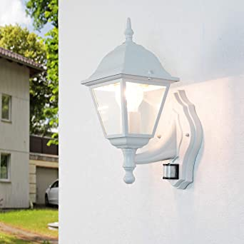 5 W LED Linterna media Pared Jardín Luz de Patio Exterior Sensor De Movimiento PIR Blanco IP44