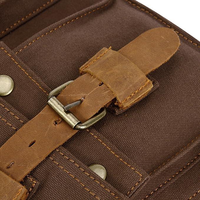 a9ed3f6f5f3f Anladia Mens Vintage Canvas Leather Messenger Bag Satchel Military Shoulder  School Bag