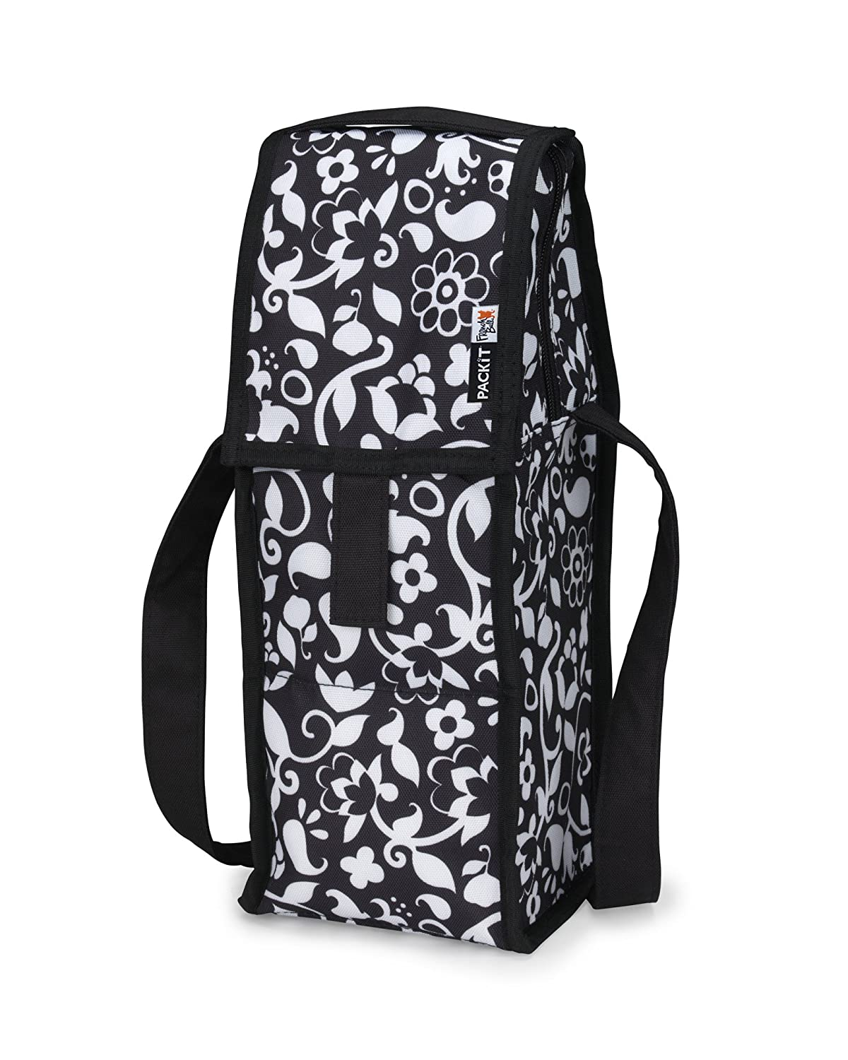 PackIt Freezable Wine Cooler Bag with Zip Closure, Solid Black SBS-BK-1018