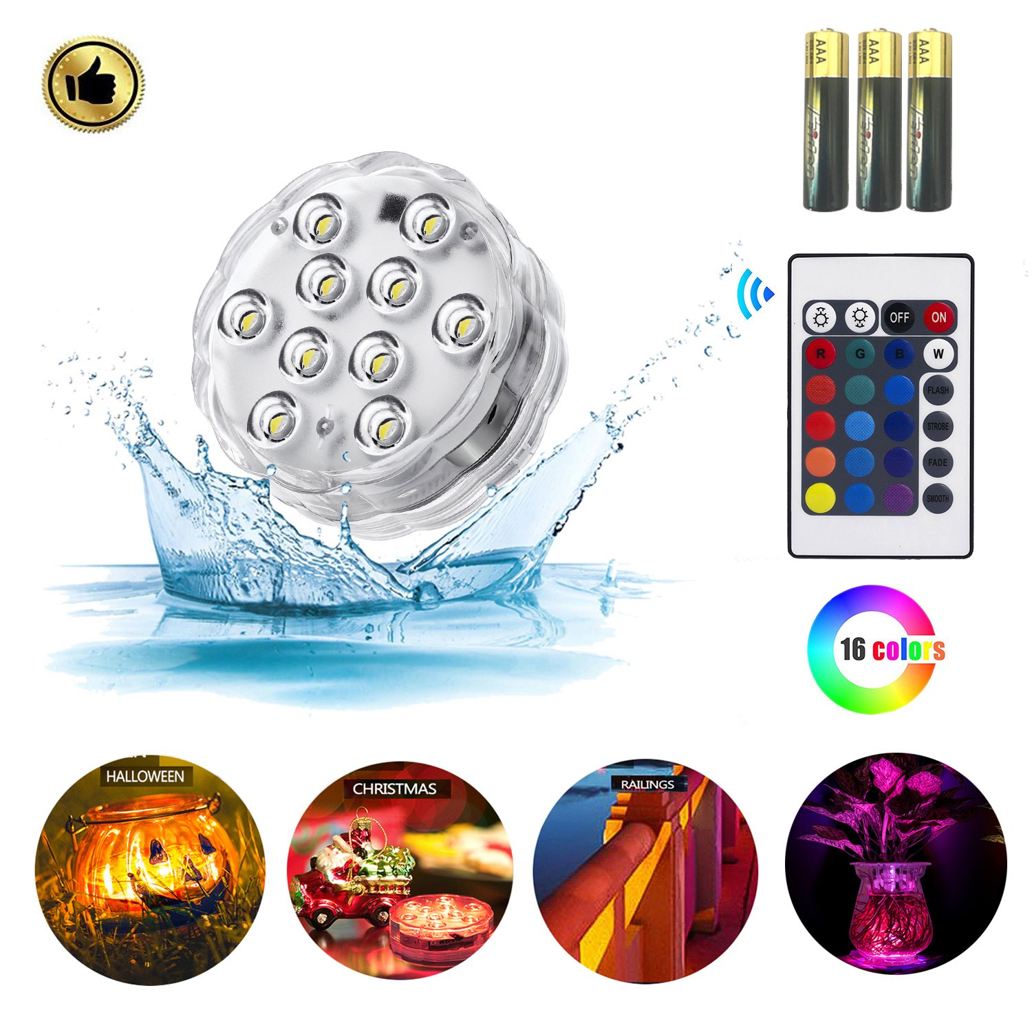 Amazon.com : Zhuofu Submersible led Lights, RGB Waterproof ...
