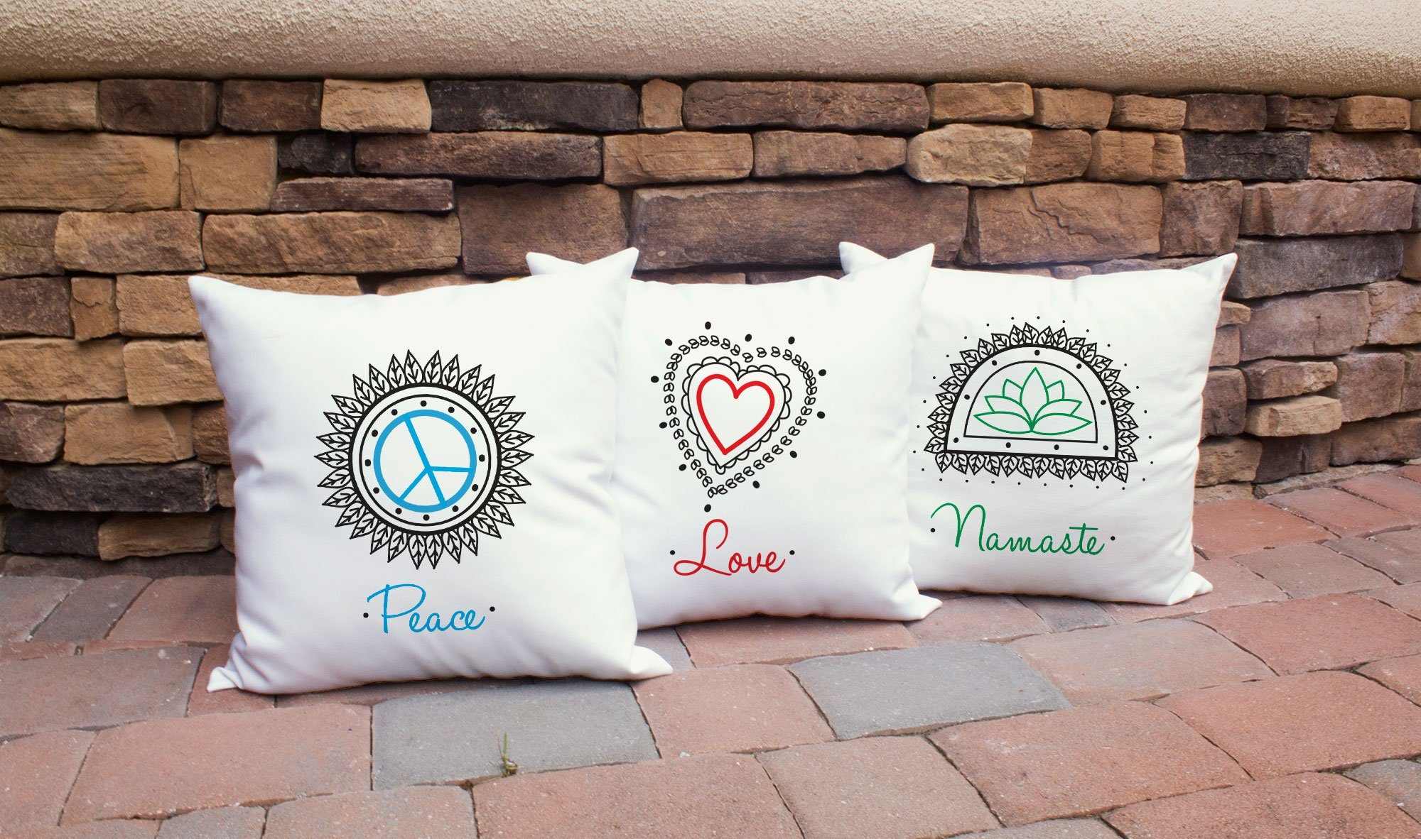 Set of 3 RoomCraft Peace Love Namaste Throw Pillow Covers 20x20 Inch Square White Outdoor Yoga Shams by RoomCraft (Image #2)