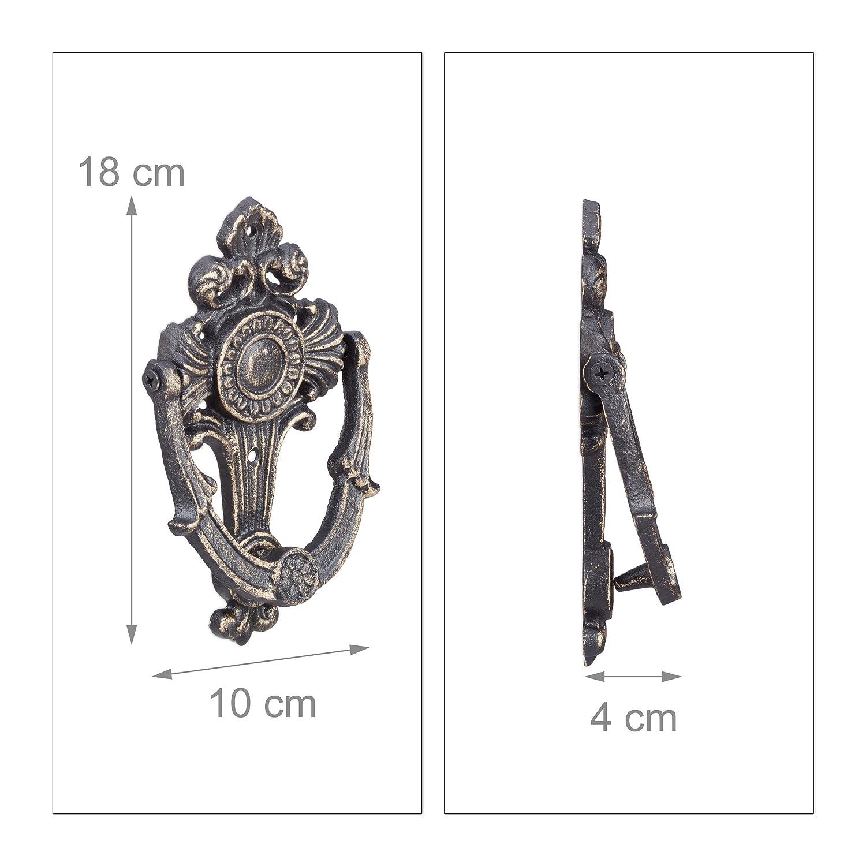 Massiv f/ür Eingangst/ür bronze Gusseisen H x B x T: ca Klopfring 25 x 16 x 11 cm Antik Relaxdays T/ürklopfer L/öwe