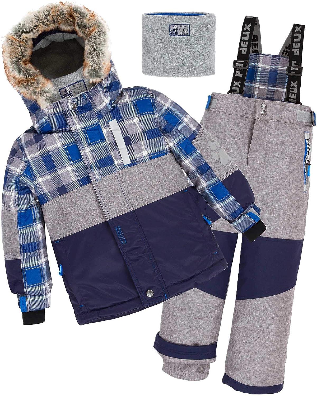 Deux par Deux Boys' 2-Piece Snowsuit Forest Runner Gray, Sizes 5-14