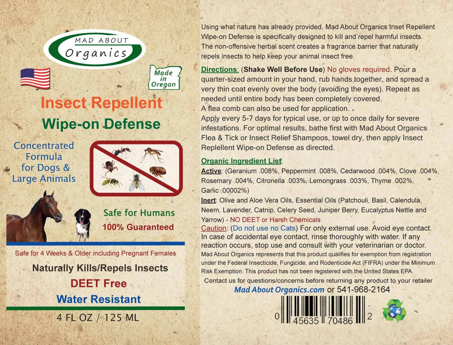 Mad About Organics All Natural Horse/Farm Animal Insect Repellent Wipe-on Defense 4oz by Mad About Organics (Image #2)